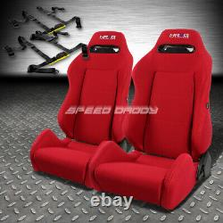 Nrg Type-r Red Reclinable Racing Seats+universal Slider+2x 4-point Harness Belt