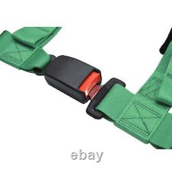 Nylon Straps Safety Harness 2'' 4-Point Racing Style Universal Seat Belt Green
