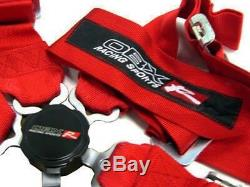 OBX Racing Sports Red 5 Point Racing Seat Belt Harness Driver & Passenger Set
