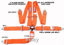 Orange Safety Harness Sfi 16.1 Racing 5 Point Floor Mount 3 Cam Lock Seat Belt