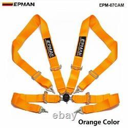 Orange Universal 4-Point 3 Nylon Strap Harness Safety Camlock Racing Seat Belt
