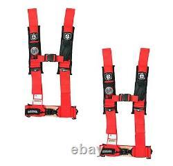 PRO ARMOR 4 Point Harness 3 Seat Belt PAIR RED Yamaha YXZ1000 Viking Wolverine