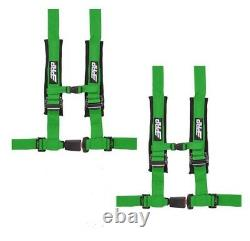 PRP 4 Point 2 Harness Seat Belt Automotive Style Latch Green RZR XP Turbo Pair