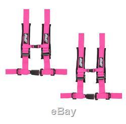 PRP 4 Point 2 Harness Seat Belt Pair Automotive Style Latch Pink Polaris RZR
