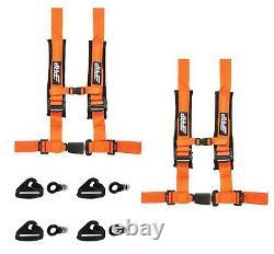 PRP 4 Point 2 Harness Seat Belts Automotive Latch Orange RZR Pro XP Mount