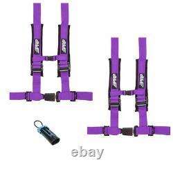 PRP 4 Point 2 Harness Seat Belts Automotive Style Latch Purple Polaris RZR All