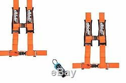PRP 4 Point Harness 3 Seat Belt PAIR ORANGE Bypass Polaris RZR XP Turbo 1000