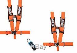 PRP 5 Point Harness 3 Seat Belt PAIR ORANGE Bypass Polaris RZR XP Turbo 1000