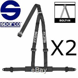 Pair (2) Sparco Harness 2 Inch 3pt Bolt-in Black Seat Safty Belt 3 Point