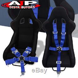 Pair Black Bucket Racing Sport Seats JDM Red Accent + 2x 5pt Seatbelt Harness