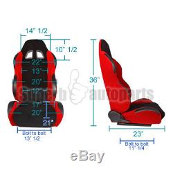 Pair Black Racing Seat Belts 4 Point 4PT Safety Harness+Black/Red Racing Seats