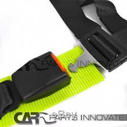 Pair JDM T-R Black White PVC Racing Seats Reclinable+4-PT Seat Belt Harness