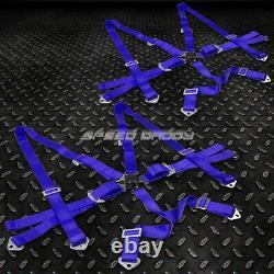 Pair Universal 6-pt 3 Strap Camlock Drift Racing Safety Seat Belt Harness Blue