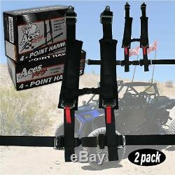 Pair of Polaris RZR 4 Point Harness- with 2 Padding & RZR Seat Belt Bypass