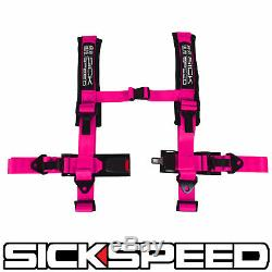 Pink 4 Point 2 Nylon Racing Harness Shoulder Pad Safety Seat Belt Buckle
