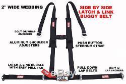 Polaris Rzr Xp 1000 2 Seat Belt Harness Utv Atv Race Harness Latch Type Black