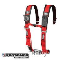 Pro Armor 2 4pt Harness Seat Belt withSewn Pads RED Polaris Can-Am Kawasaki All