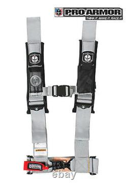 Pro Armor 2 4pt Harness Seat Belt withSewn Pads Silver Polaris Can-Am Kawasaki