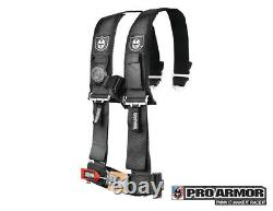 Pro Armor 3 4pt Harness Seat Belt withSewn Pads Black Polaris Can-Am Kawasaki All
