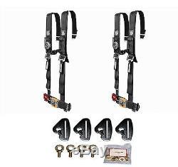 Pro Armor 4 Point 2 Padded Seat Belts Pair Harness Mount Black Maverick X3