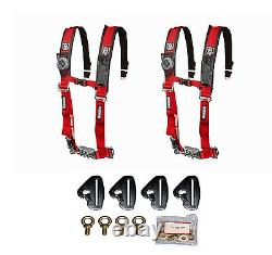 Pro Armor 4 Point 2 Padded Seat Belts Pair Harness Mount Red Maverick X3 2017+