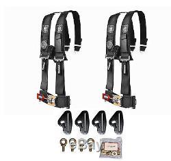 Pro Armor 4 Point 3 Padded Seat Belt Harness Pair Mount Kit Black Maverick X3