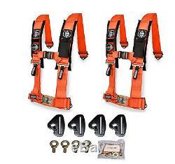 Pro Armor 4 Point 3 Padded Seat Belt Harness Pair Mount Kit Orange Maverick X3