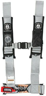 Pro Armor 4 Point 3 Safety Harness Seat Belt with Sewn in Pads SILVER A114230SV