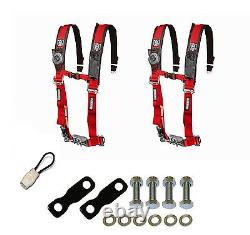 Pro Armor 4 Point Harness 2 Seat Belt Pair Mount Kit Bypass Red YXZ 1000R 2017+