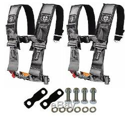 Pro Armor 4 Point Harness 3 Pad Seat Belt Pair With Mount Kit Silver YXZ 1000R