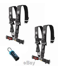 Pro Armor 5 Point 3 Seat Belt Harness PAIR BYPASS BLACK Commander / Maverick X3