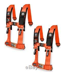 Pro Armor 5 Point Harness 2 Pads Seat Belt Orange Pair Maverick Commander All