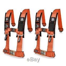 Pro Armor Pair of Orange 4 Point 3 Harness Seat Belt RZR XP Turbo CanAm X3 UTV
