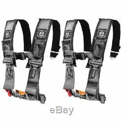 Pro Armor Pair of Silver 4 Point 3 Harness Seat Belt RZR XP Turbo CanAm X3 UTV