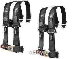 Pro Armor Seat Belt Harness 4PT 3 Padded Polaris RZR XP / S /4 /1000 BLACK PAIR