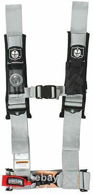Pro Armor Seat Belt Harness 4PT 3 Padded Polaris RZR XP S /4 /1000 SILVER PAIR