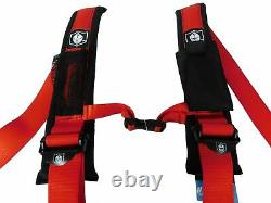 Pro Armor Seat Belt Harness 4 Point 2 Padded Arctic Cat Wildcat Prowler (RED)