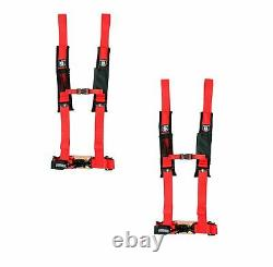 Pro Armor Seat Belt Harness 4 Point 2 Padded Red Can Am Maverick A114220R