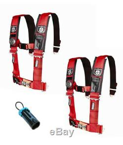 Pro Armor Seat Belt Harness 4 Point 3 Padded Pair Bypass Red Maverick X3 2017+