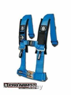 Pro Armor Seat Belt Harness 4 Point 3 Padded Polaris RZR XP / S /4 /1000 BLUE