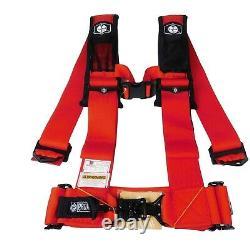 Pro Armor Seat Belt Harness 4 Point 3 Padded Polaris RZR XP / S /4 /1000 (RED)