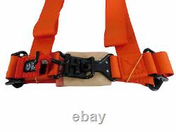 Pro Armor Seat Belt Safety Harness 4Point 2 Padded RZR Rhino Can Am ORANGE PAIR
