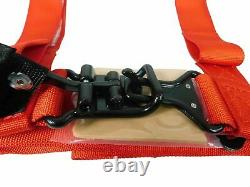 Pro Armor Seat Belt Safety Harness 4 Point 2 Padded RZR Rhino Can Am (Red) PAIR