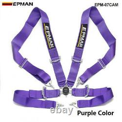 Purple Universal 4-Point 3 Nylon Strap Harness Safety Camlock Racing Seat Belt