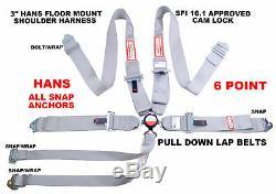 Racerdirect Sfi 16.1 Race Harness 6 Point 3 Seat Belt Floor Mount Cam Lock Gray
