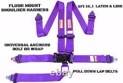 Racing Harness 5 Point Universal Latch & Link Seat Belt Purple Floor Mount Sfi