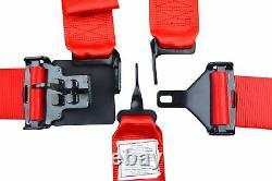 Racing Harness 5 Point Universal Latch & Link Seat Belt Red Floor Mount Sfi 16.1