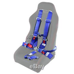 Racing Harness Safety Seat Belt Buckle 5 Point Latch and Link 2PC Blue Nylon
