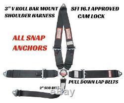 Racing Harness Seat Belt 5 Point Black Sfi 16.1 Cam Lock Snap Clip Anchors