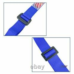 Racing Sports 4 Point 2 Inch Harness Seat Belt Safety Belt Blue 1 Pair